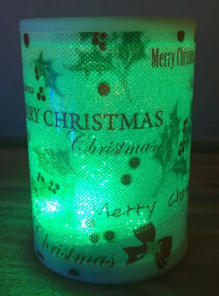 LED Battery Operated Colour Changing Christmas Candle ~ Merry Christmas Holly (D)